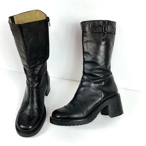 J Crew Vintage Leather Block Heel Boots